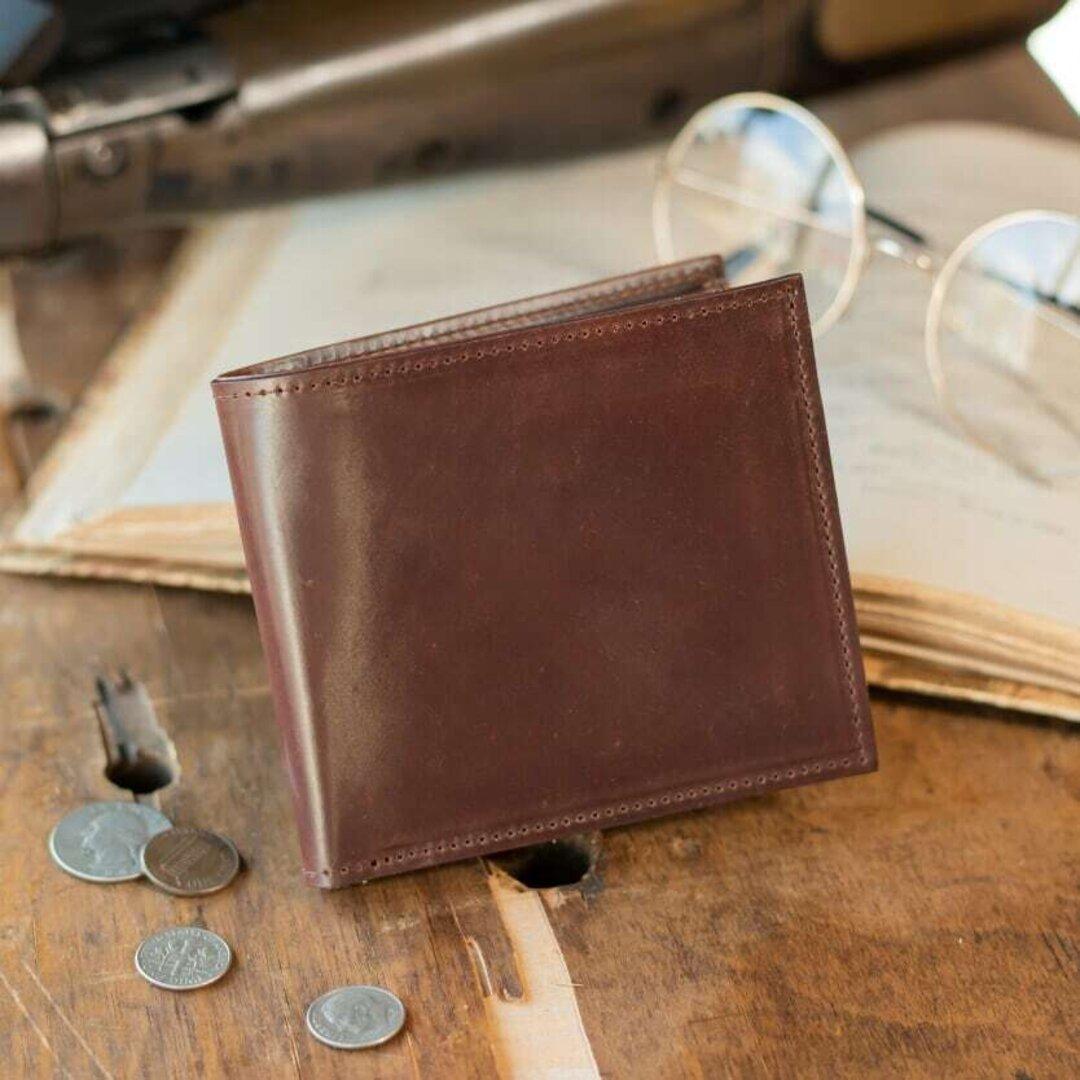 【永久無料保証】シェルコードバン「ホーウィン社製」二つ折り財布 Brown -ブラウン-