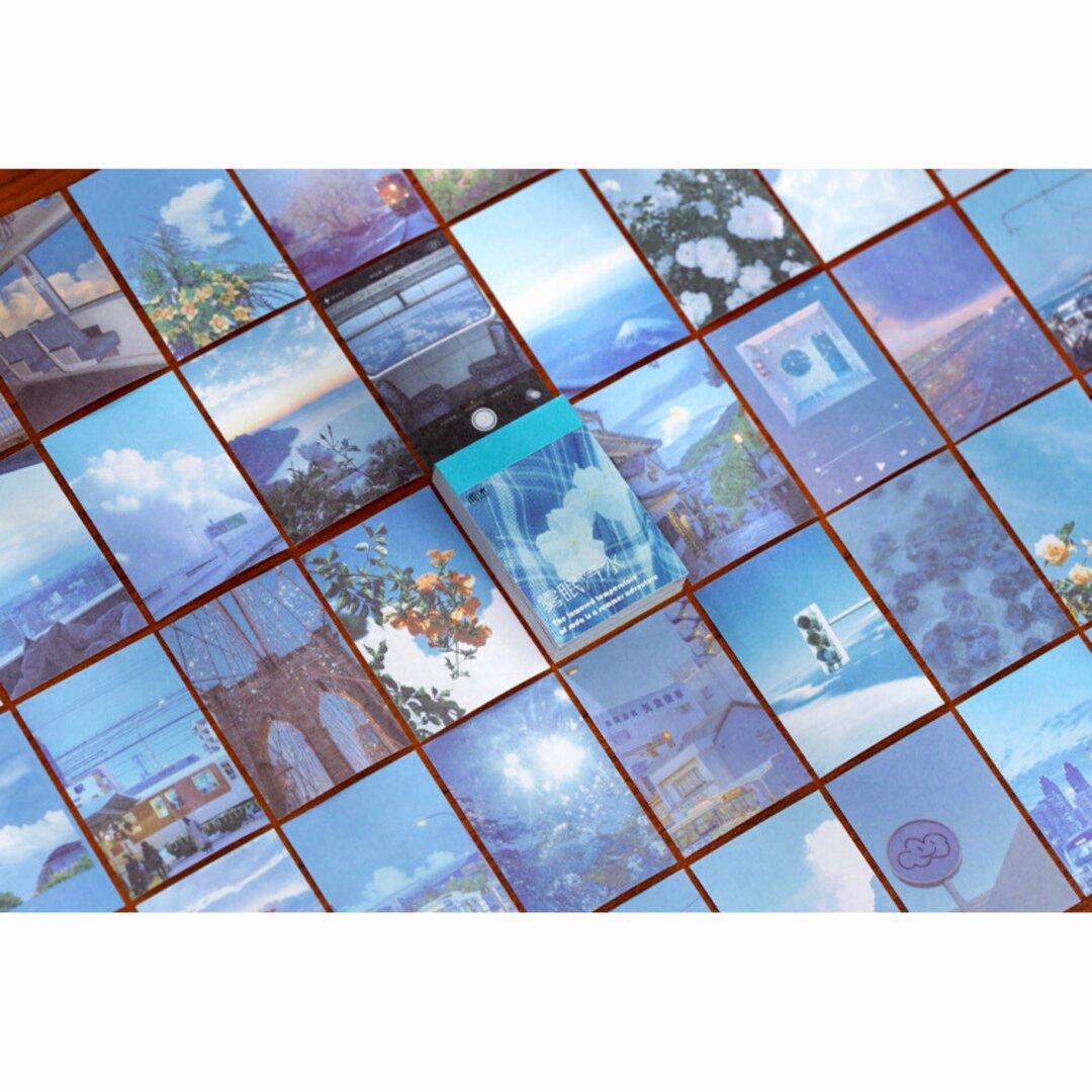 豆本風シール 涼しい空色 50枚 和紙 写真 コラージュ Vol.2