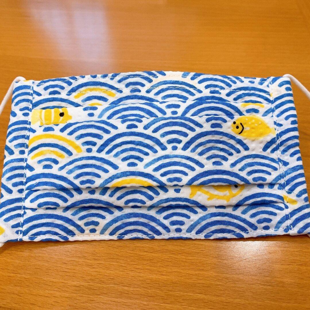 値下げ❗️【夏用】子供用プリーツ型布マスク【波】