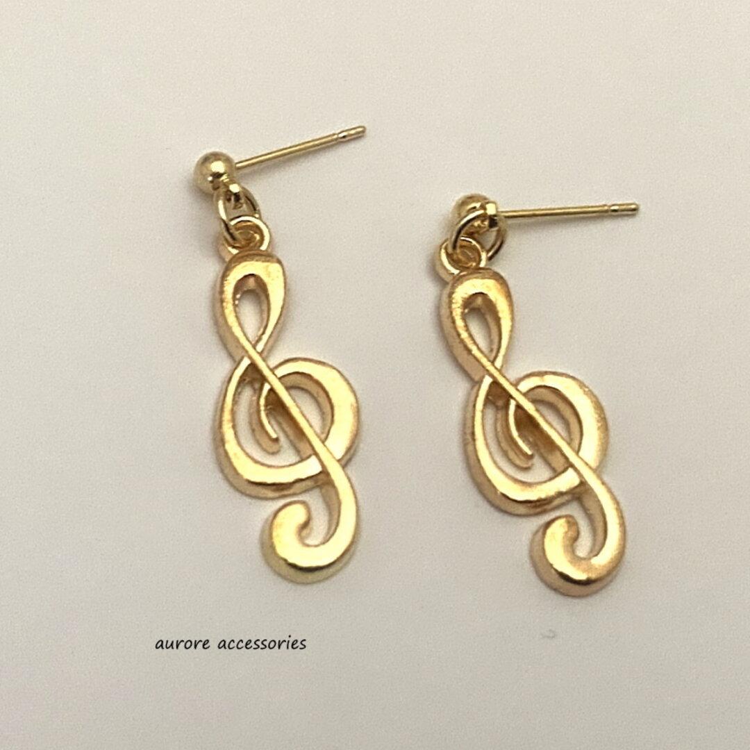 G clef stud earrings スタッドピアス ト音記号 上品 ゴールドカラー