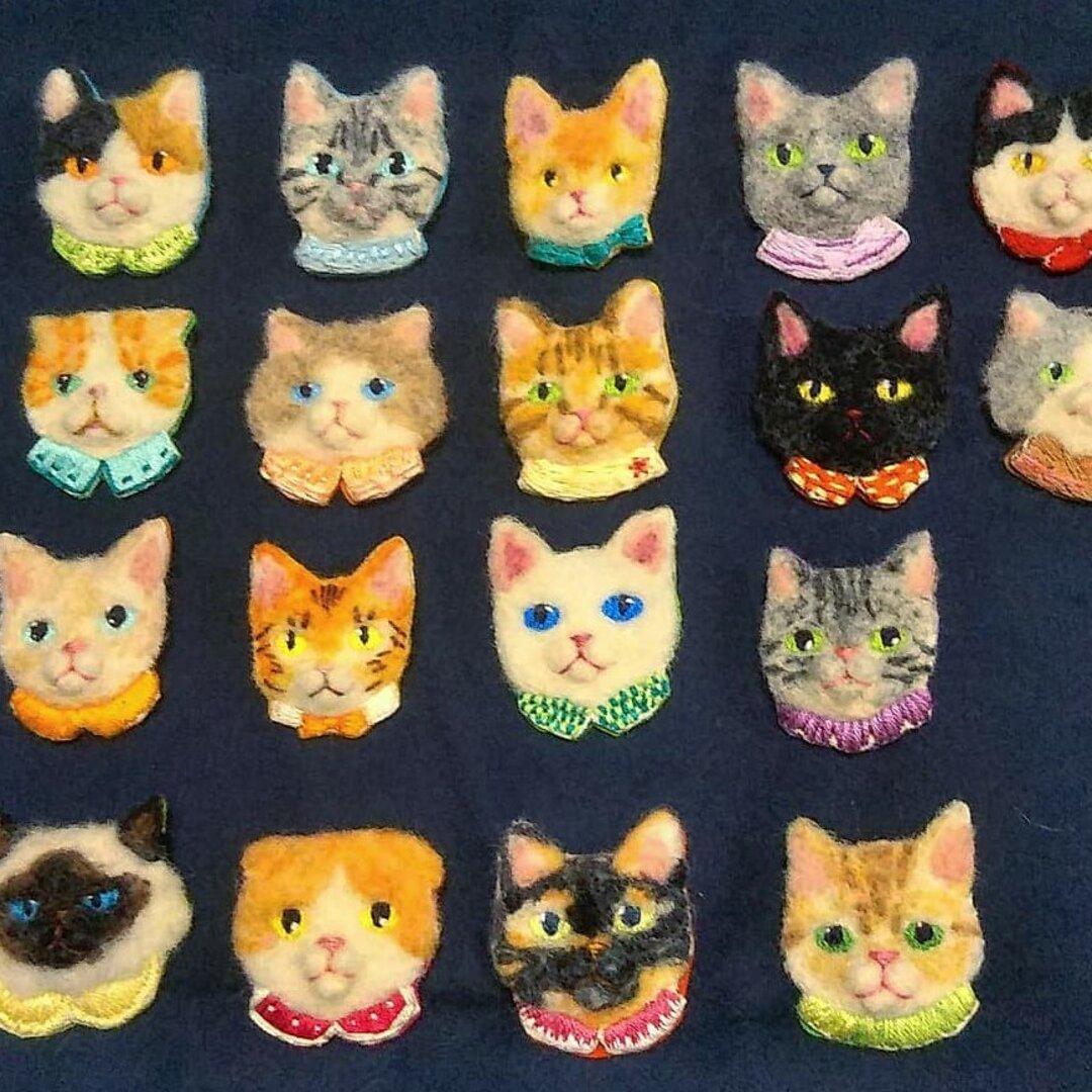 セミオーダー猫刺繍ブローチ