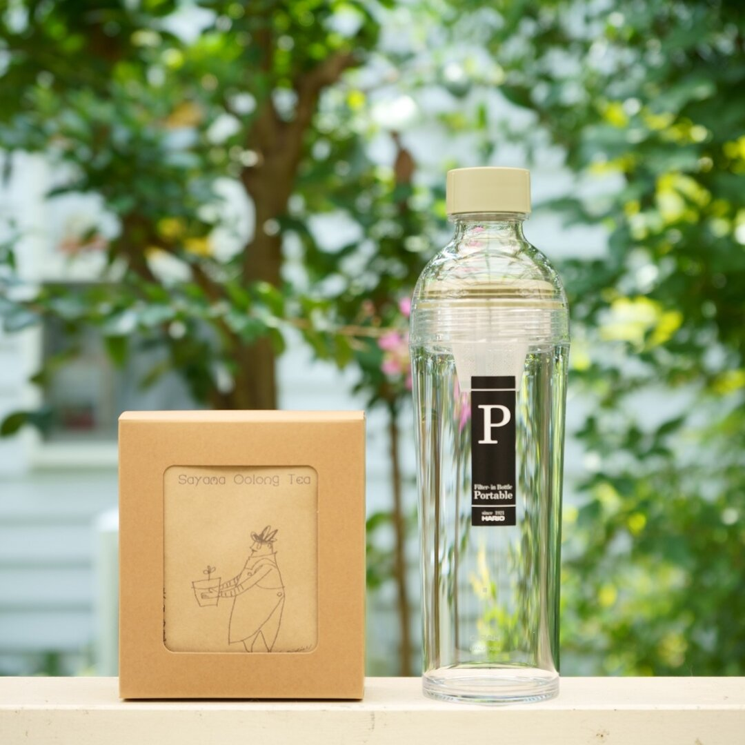 HARIO ポータブルボトル(グリーン)と日本茶セット(7種)