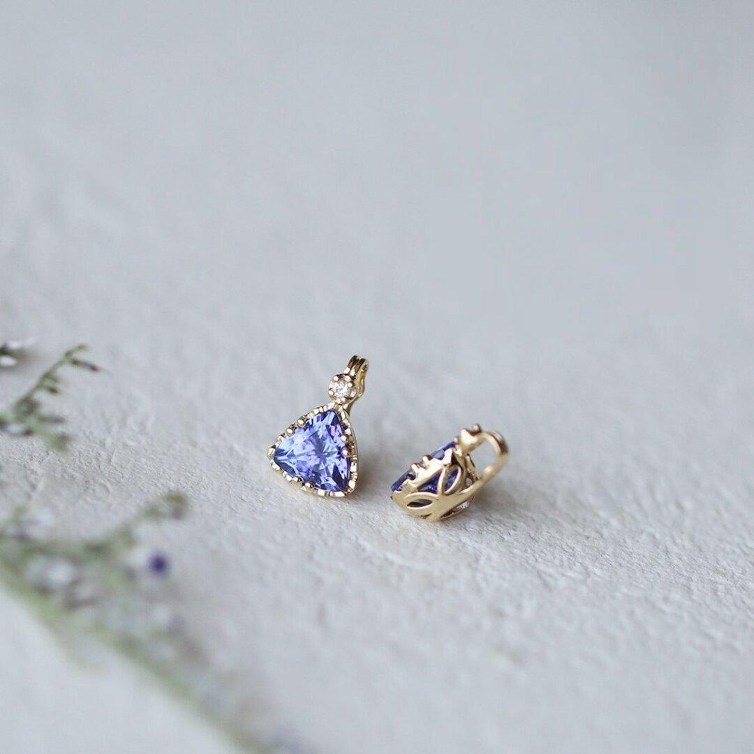 K10 K10金 天然タンザナイト ダイヤモンド ペンダント ゴールド クラシックデザイン レディース 宝石 卸売価格 高品質 高級品
