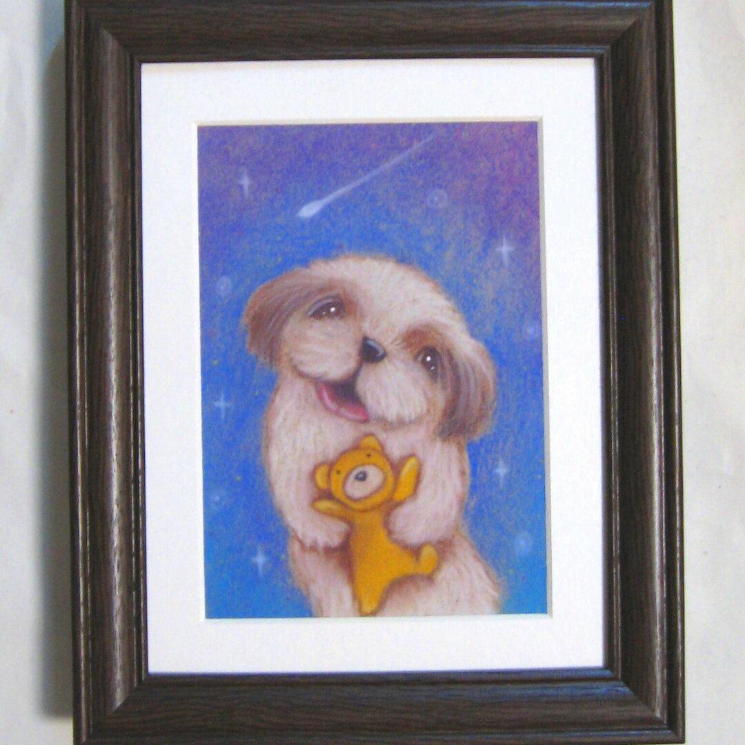 シーズーとクマさん♪流れ星♪手描き絵原画■額装