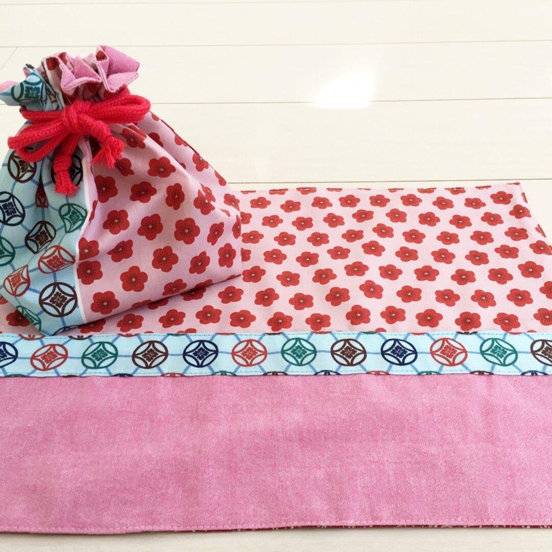 【送料無料】お弁当袋セット 和柄 ピンク おべんとう袋&ランチョンマット ランチバッグ 女の子