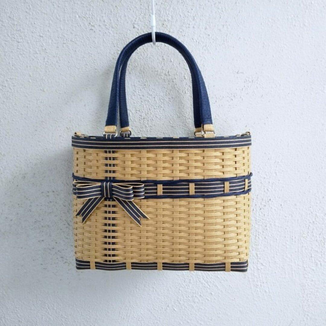 ダブルリボンのクラフトかごバッグ(M)クラフト色&ヴィンテージブルー