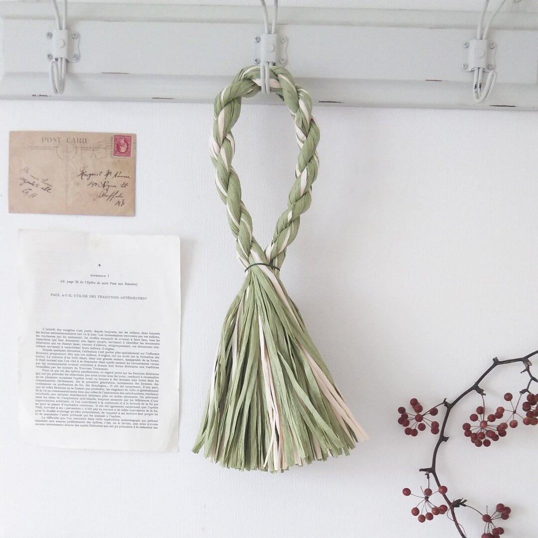 長紙しめ縄(長さ40cm) ホワイトグリーン 1個