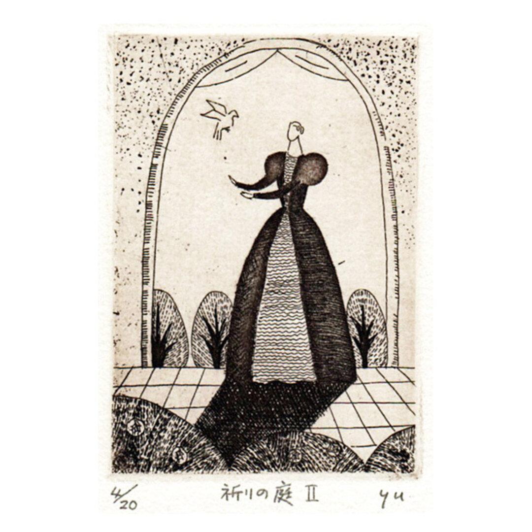 送料無料!銅版画の小作品「祈りの庭2」