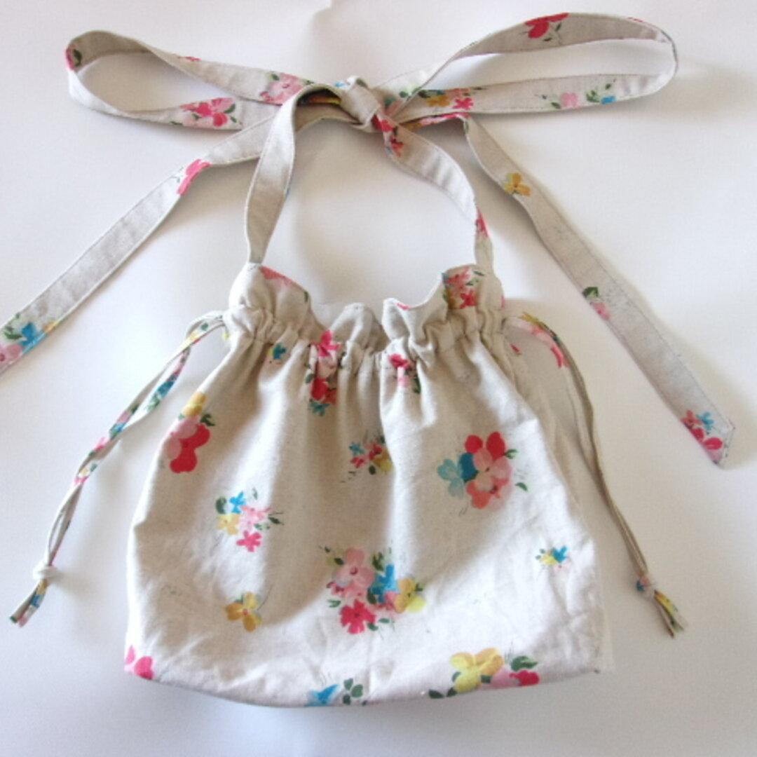 花束柄の巾着ショルダーバッグ(生成り)