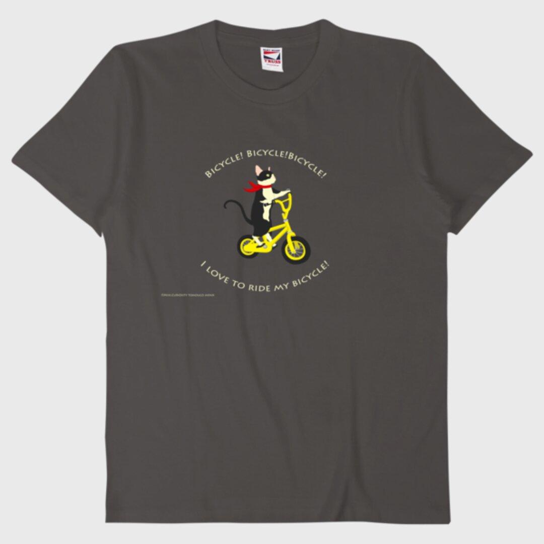 Tシャツ 自転車に乗る猫
