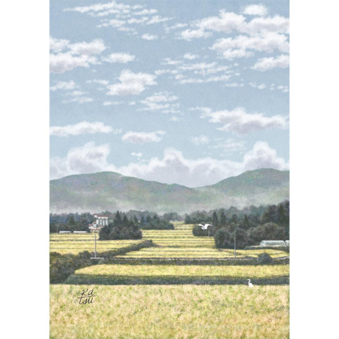 「実りの秋」 黄金色 田園風景 うろこ雲 イラスト