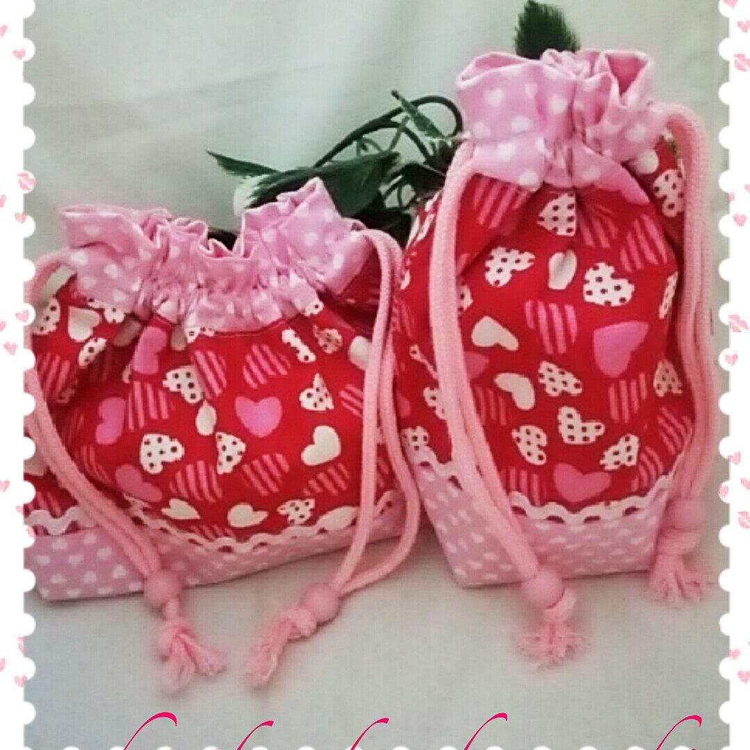 ★真っ赤ハートいっぱいなお弁当巾着&コップ袋