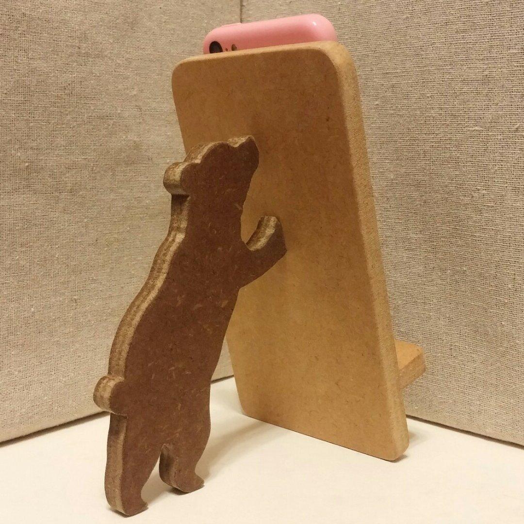 クマが支える携帯・スマホスタンド ナチュラル
