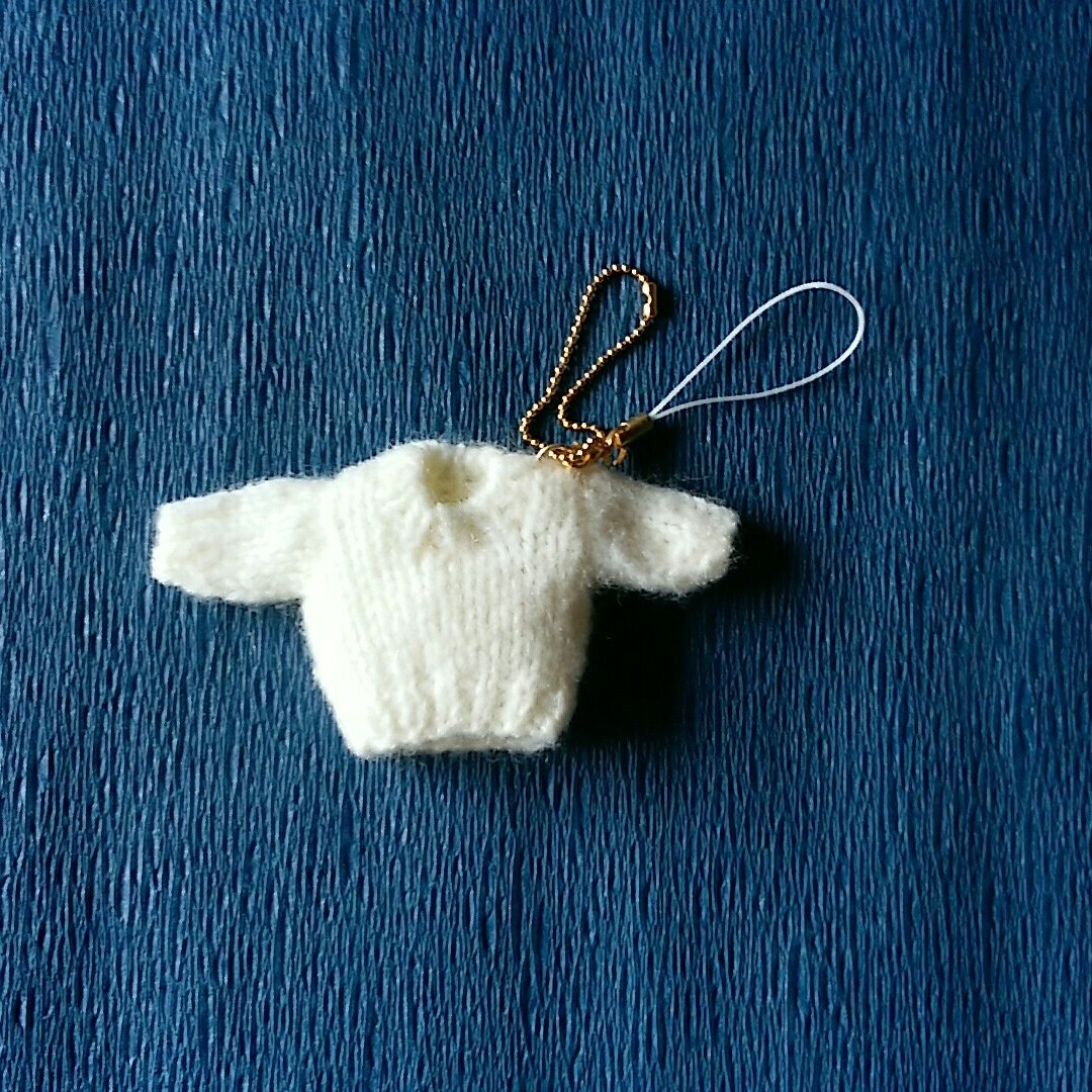 (送料無料)ミニチュアの長袖セーターのストラップ(ホワイト)