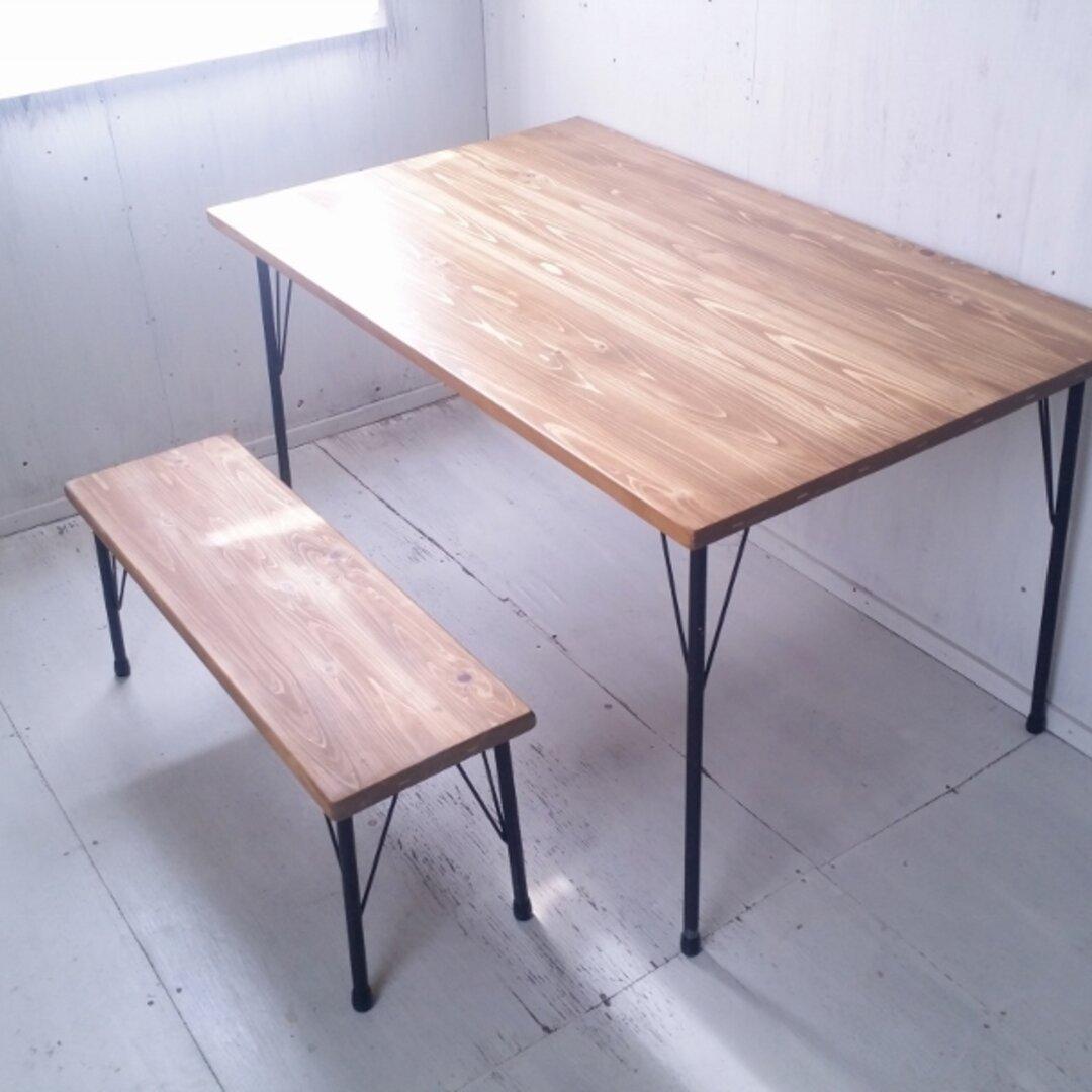 無垢ヒノキで造る家具 アイアン脚ベンチスツール 鉄脚ベンチチェア