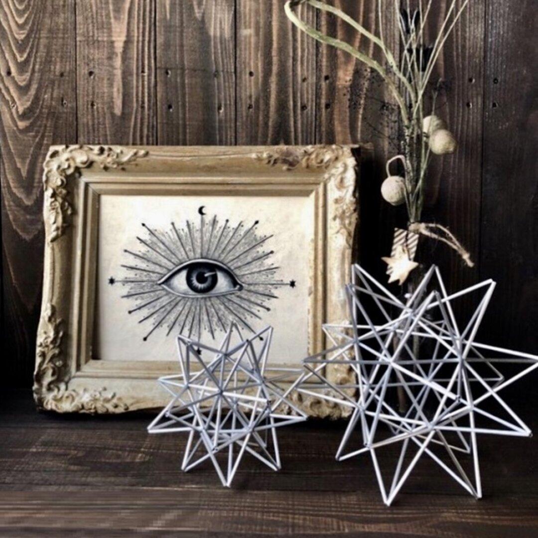 ヒンメリ「太陽 the sun」小サイズ星型 野外使用可なアルミ製 幾何学オブジェ シルバー クリスマスオーナメント