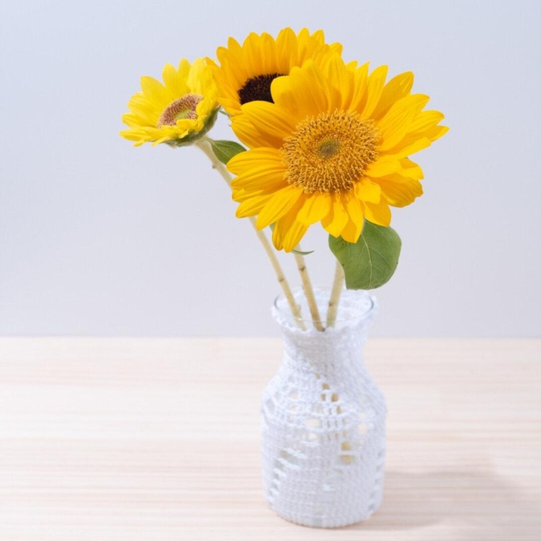螺旋模様のレース花瓶(ホワイト)