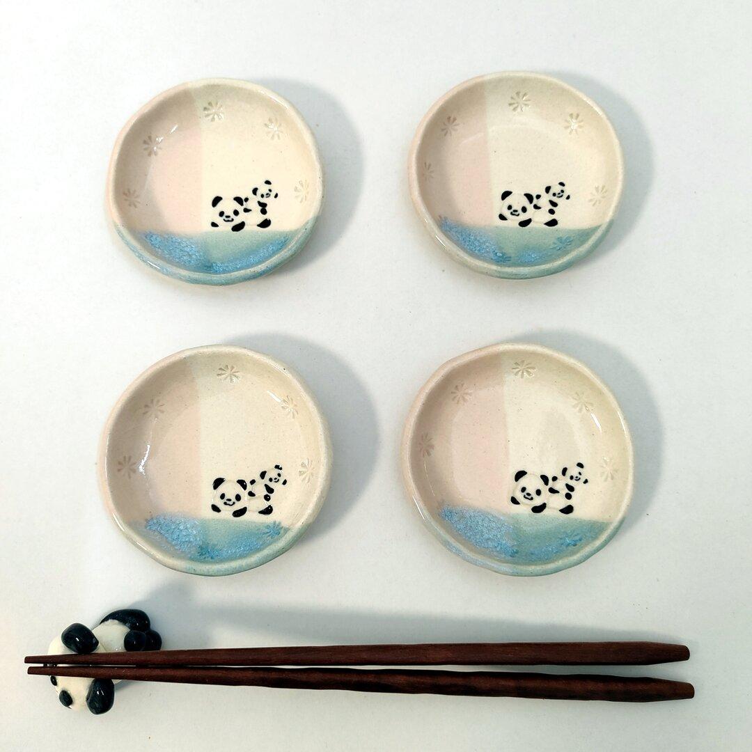 パンダ の 豆皿 ・ 水色×ピンク 親子パンダ