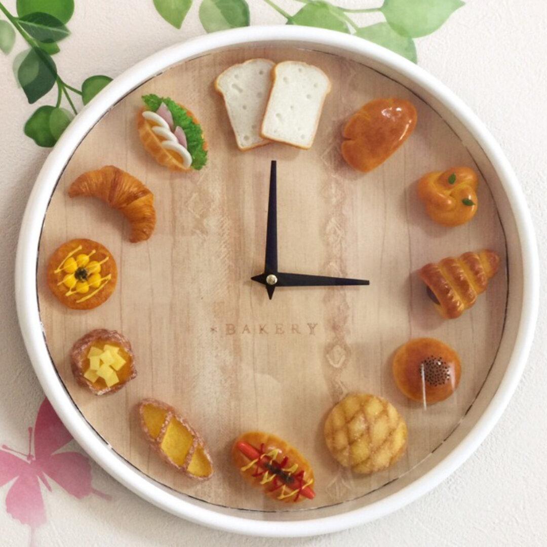 フェイク*ミニチュアフードの時計*パン屋さん 大きめサイズ