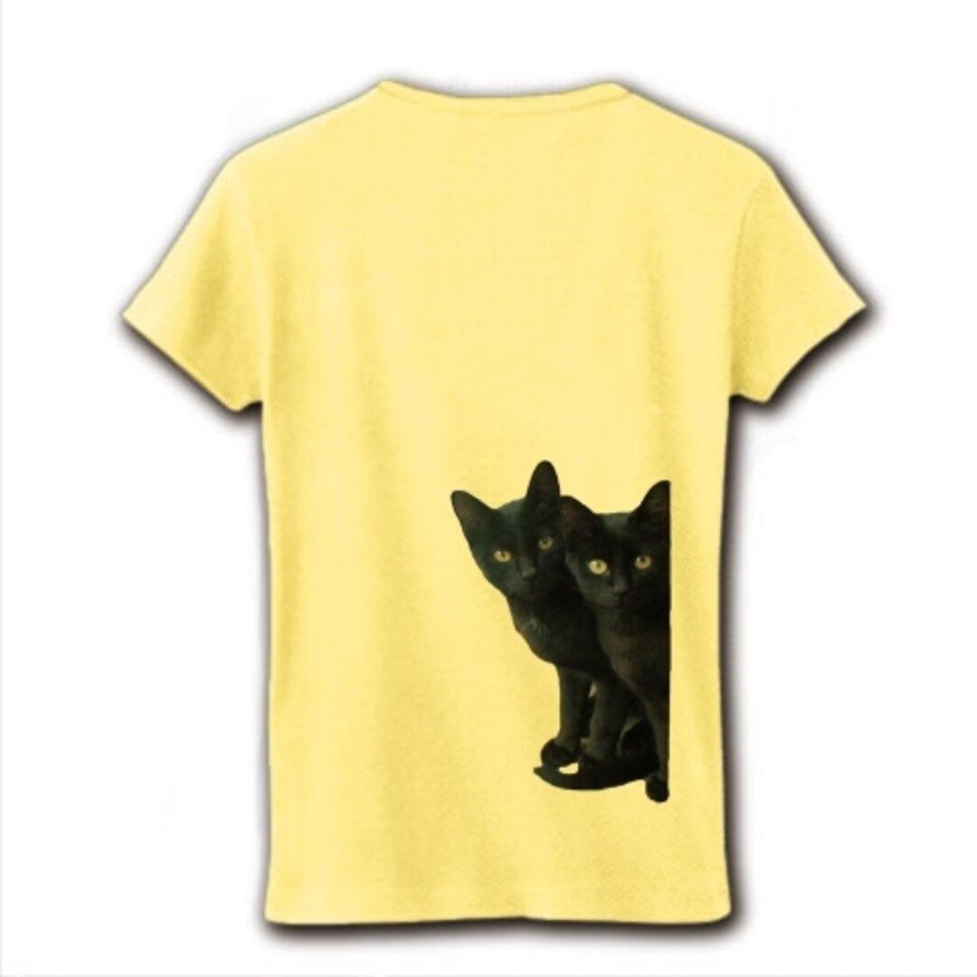 黒猫は見た・バックプリントレディースTシャツ(送料込み)
