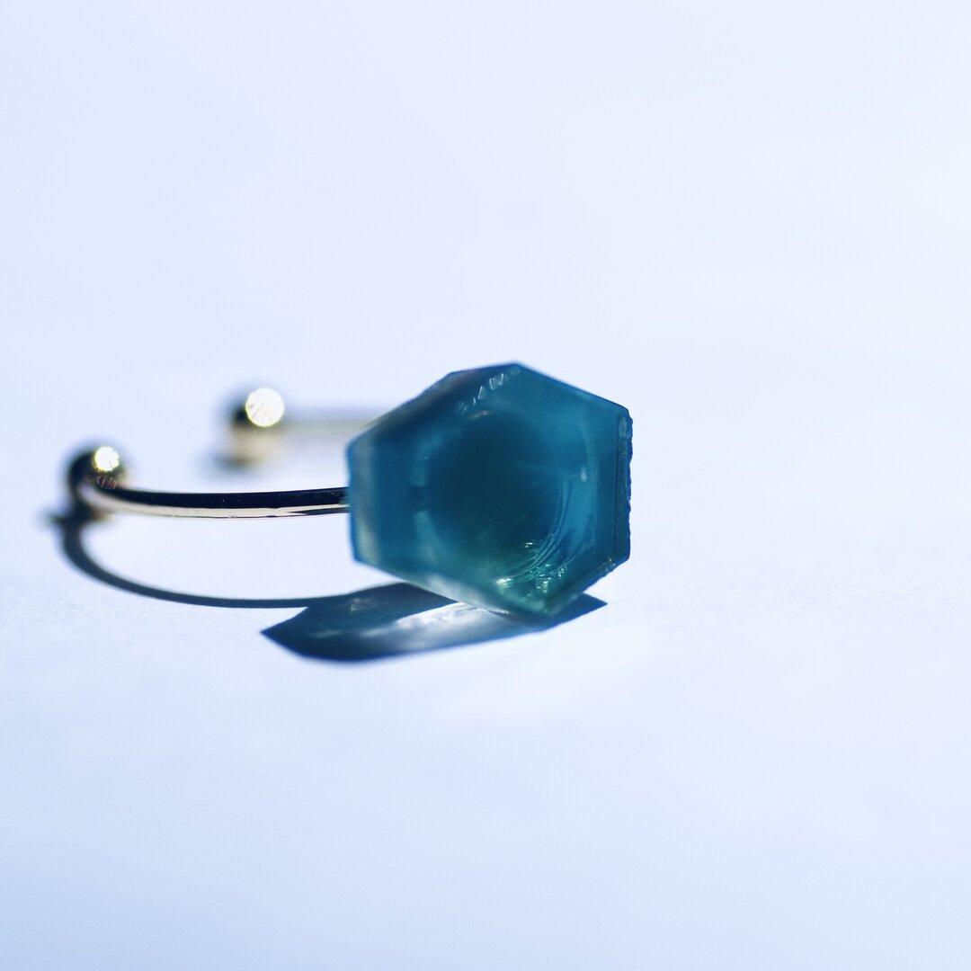 絵画なガラスの鉱物リング #38