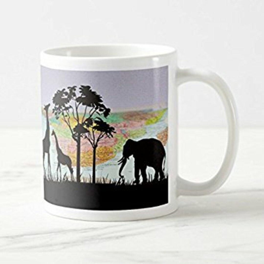 動物の影絵のマグカップ:フォトマグ(世界の野生動物シリーズ) (B:キリンとゾウ)