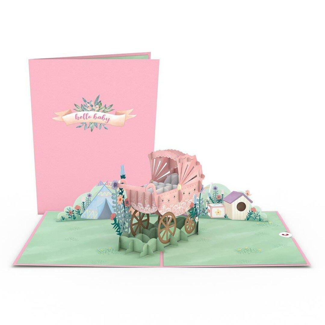 ポップアップグリーティングカード Pink Baby Carriage