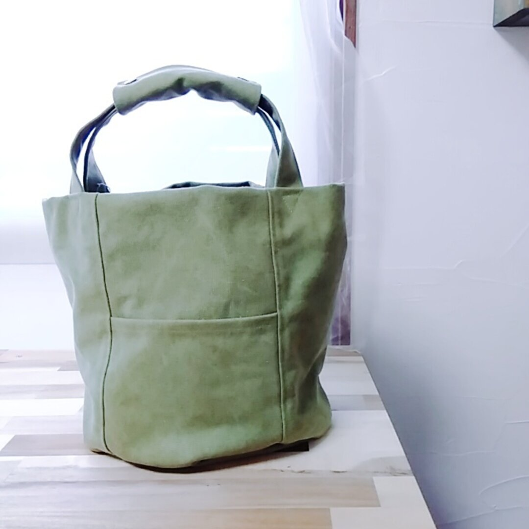 11号ビンテージ風帆布のオーバルトート small 草色