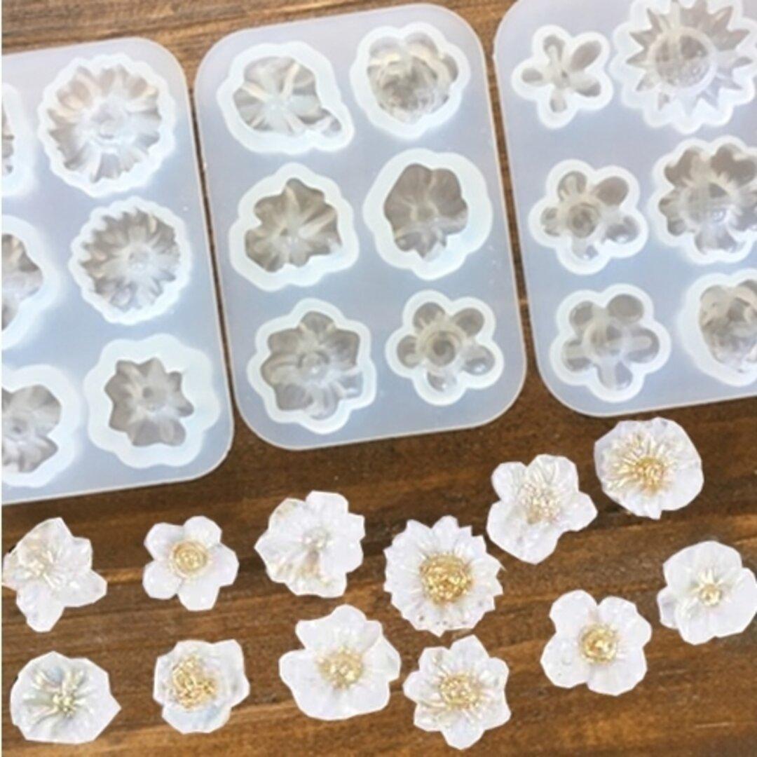3種類セット!色んなお花が作れるシリコンモールド・UV-LEDレジン液・粘土使用可!クリアカラーでつくってもカラフルにしてもかわいいっ!デコパーツやアクセサリーパーツの制作に!/型番440ーABC