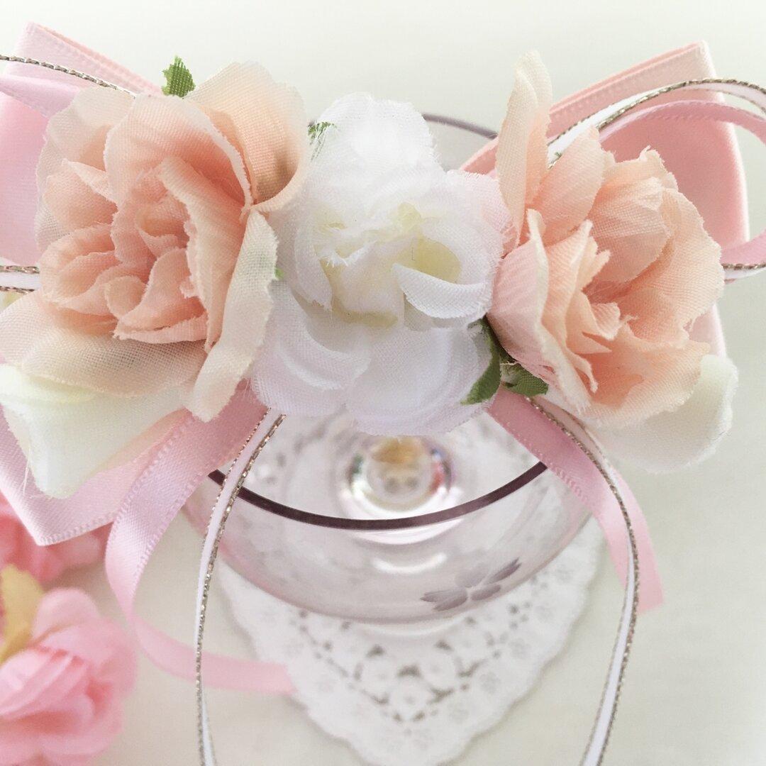 ピンク バラ リボンのヘアバレッタ