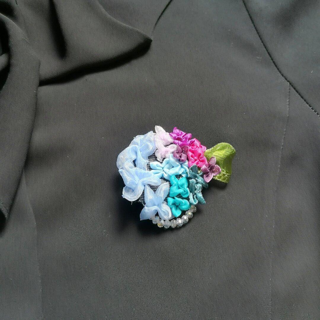 ラッピング無料☆紫陽花の2wayコサージュ グラデーション リボンフラワー