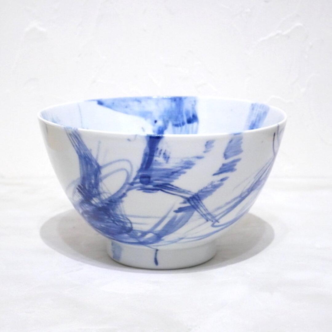 1個 九谷焼 器 うつわ どんぶり 丼 染付 青 ブルー 抽象柄 no.028