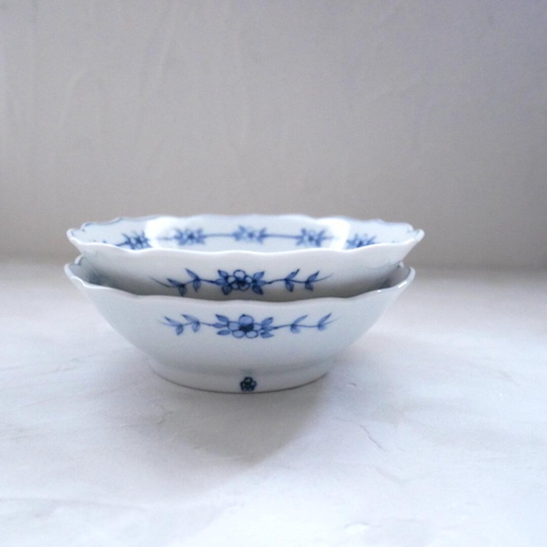 2枚セット 13.3cm 取り分け小鉢 和食器 九谷焼 うつわ 器 染付 青 ブルー 花柄 フラワー no.022