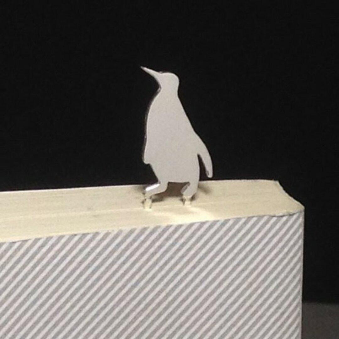Penguin-BookMark-1 シルバーブックマーク しおり ペンギン