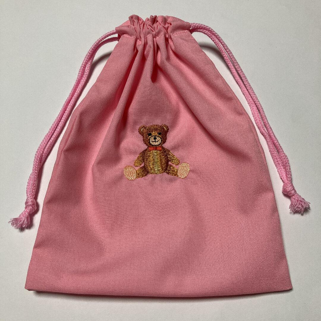 かわいいクマの刺繍入り大きめ給食袋☆202