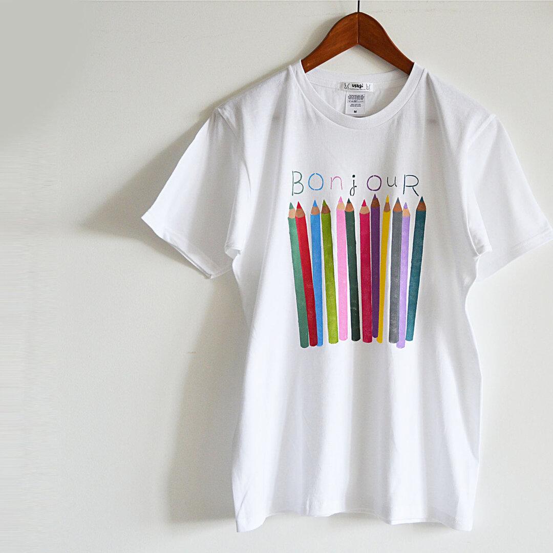 """新作! メンズ用 """"色えんぴつ"""" メンズTシャツ ホワイト おそろいコーデでおでかけ♪"""