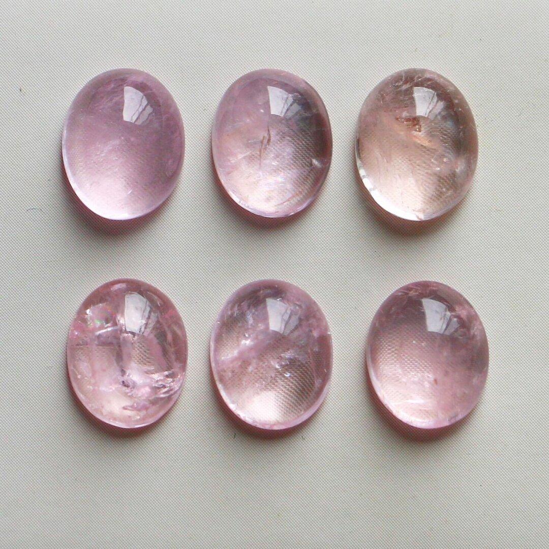 天然石*ピンクモルガナイト オーバル カボション*ルース 16 ct 6個