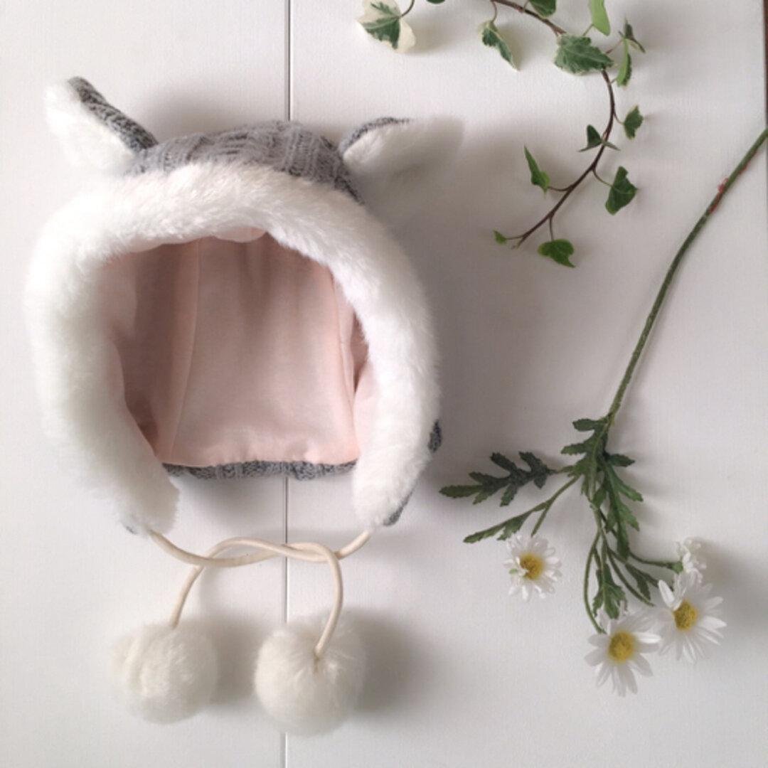アランニットの猫帽子