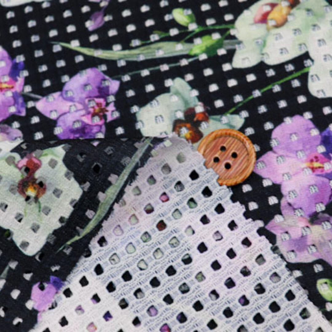 【お値打ち】 ストレッチレーシーニットプリント生地 濃紺×紫・グリーン (約140cm×約50cm) 【ハンドメイドのための小さな布】 la700