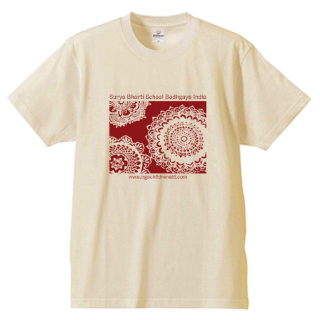 シワ二・クマーリちゃんデザイン「花」シルクスクリーン Tシャツ ナチュラル