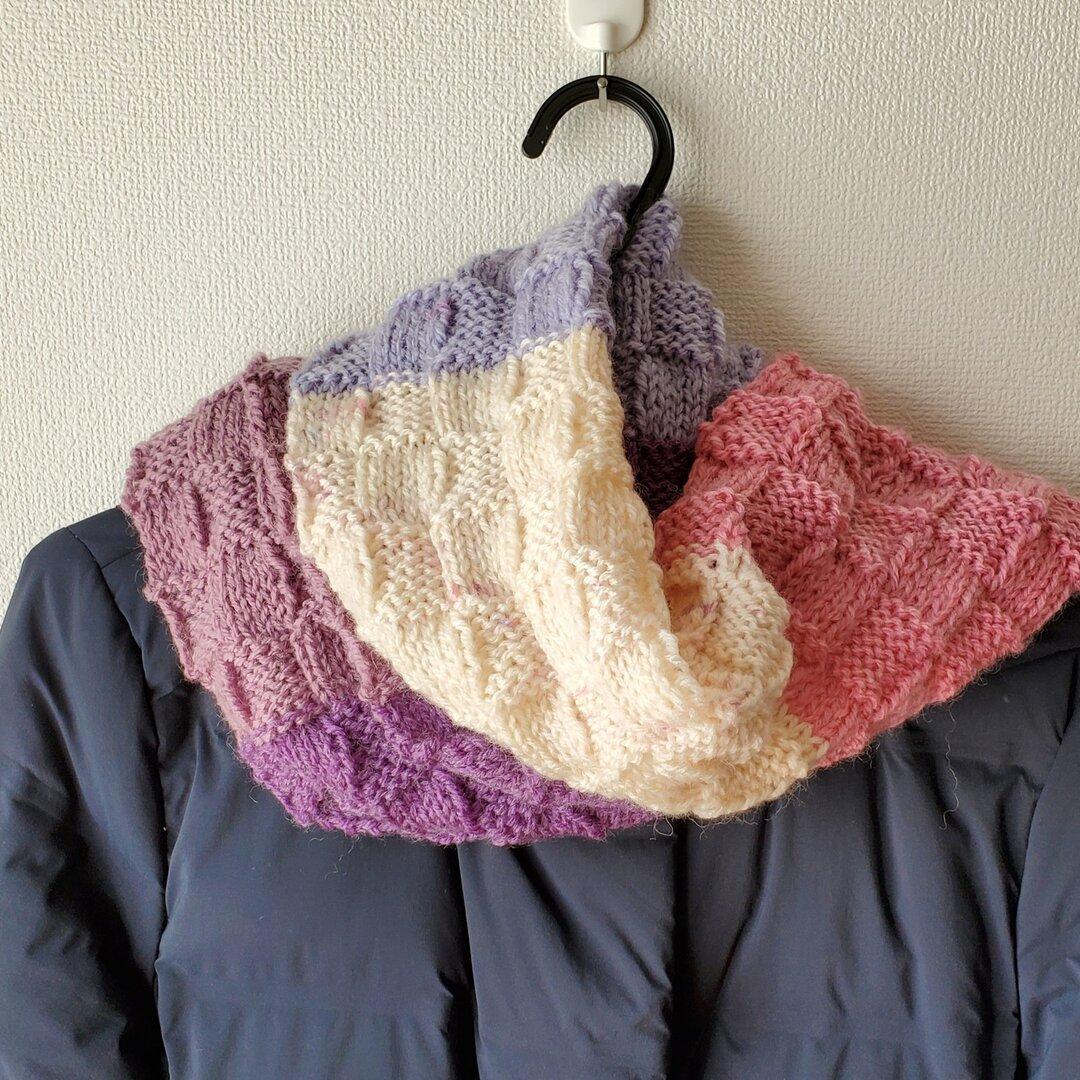 カラフル格子編みマフラー