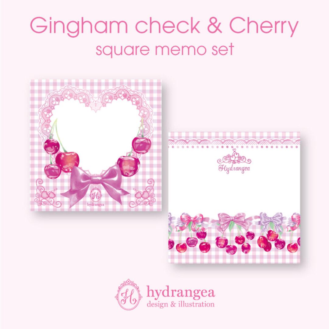 ★受注生産★【Gingham check & Cherry】メモ紙セット