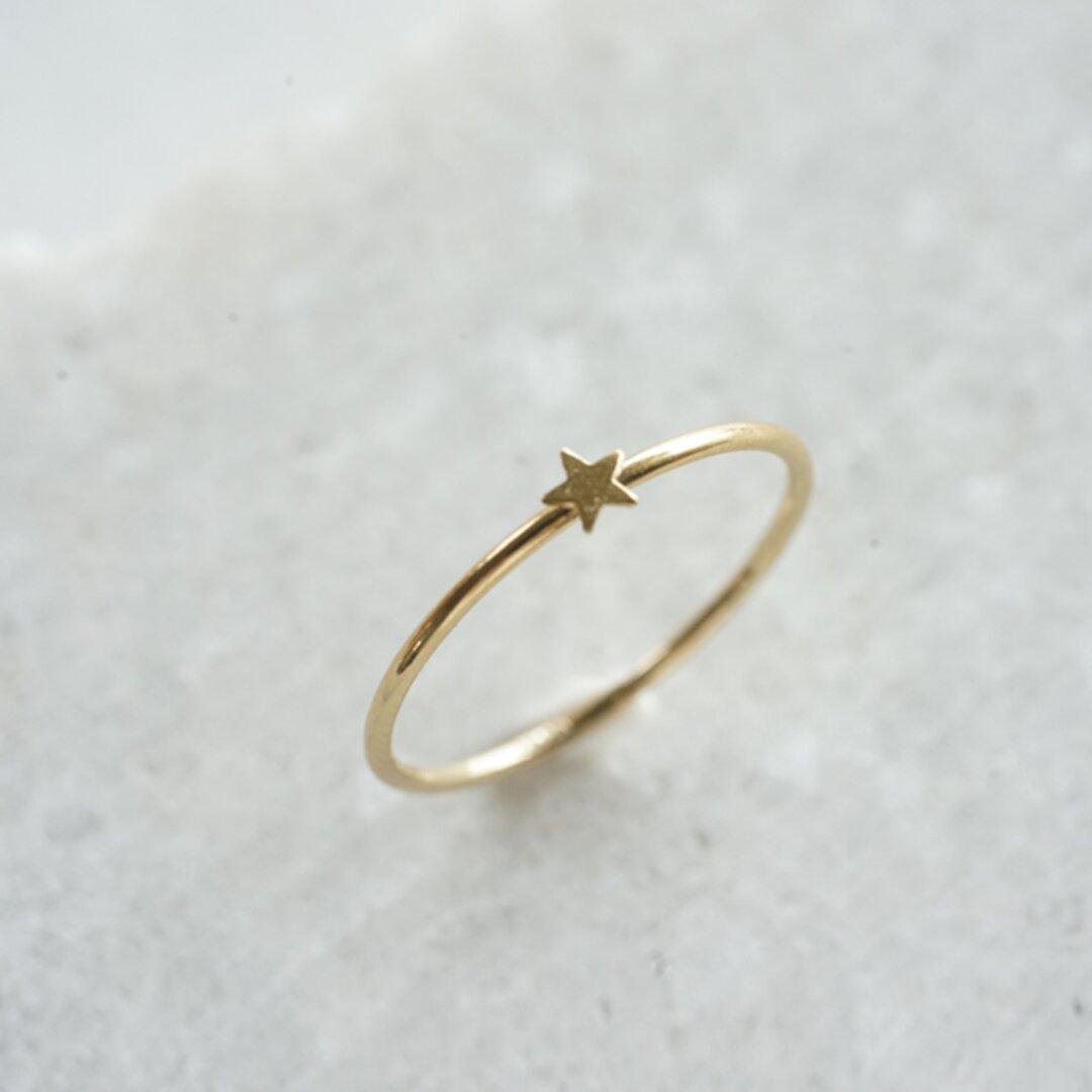 シンプル細身の小さなスター14kgfゴールド華奢リング(指輪)[R:ST]