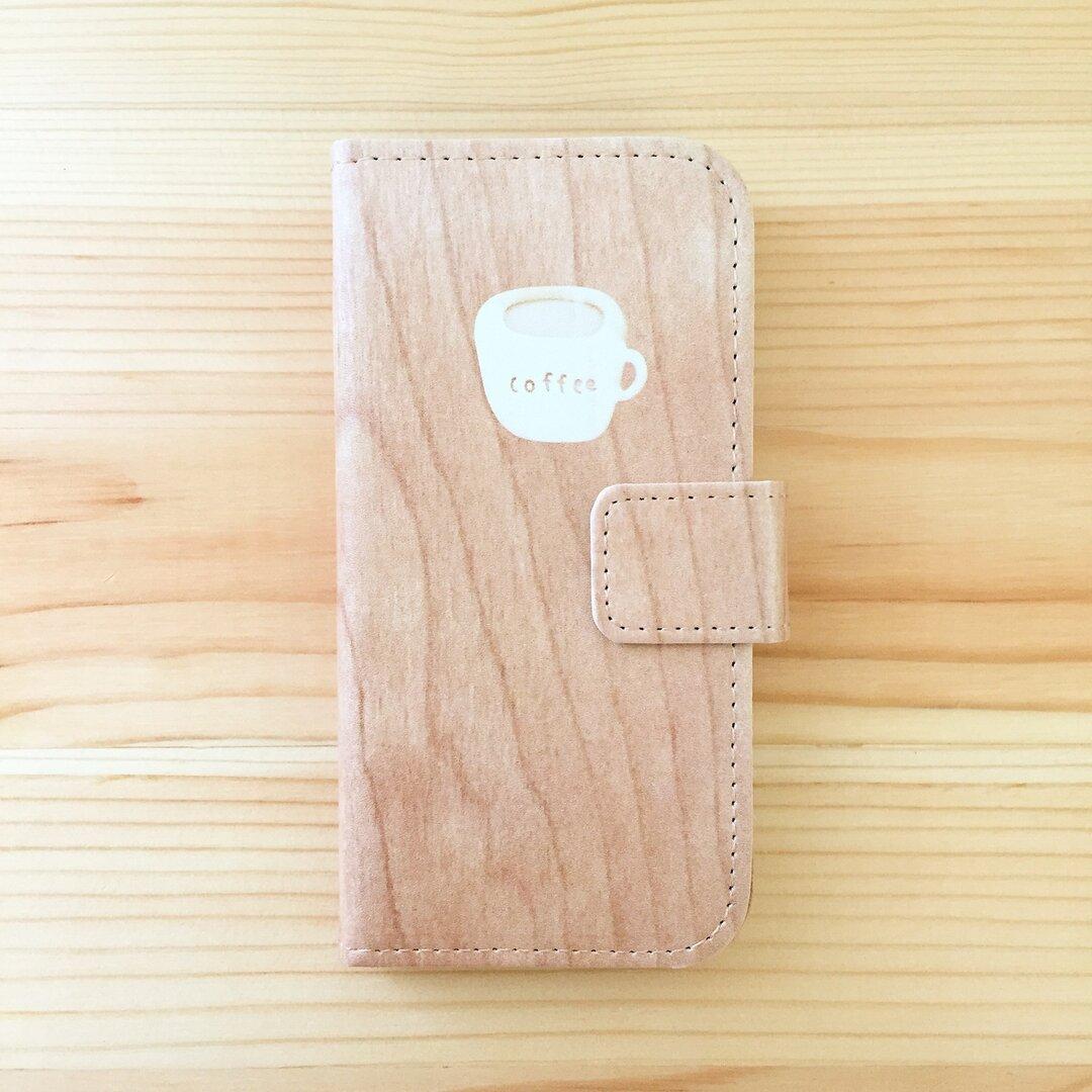 コーヒーの絵柄の、iPhoneケース(手帳型 / ウッド調)