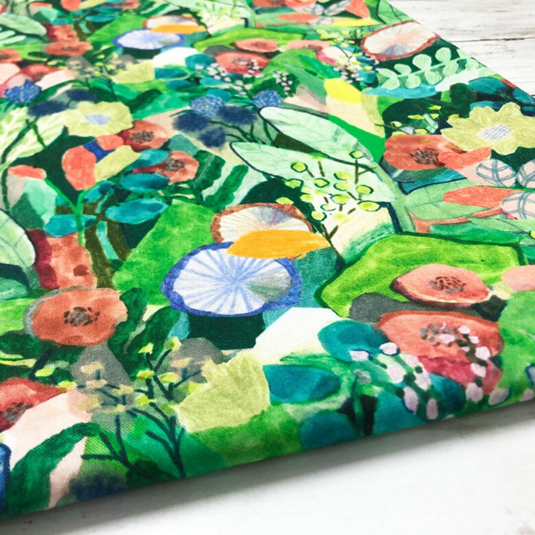 110×50 北欧風 生地 布 手描き風 水彩の森 綿シーチング コットン 50cm単位販売 商用利用可 おしゃれ ハンドメイド 花柄 さらら sarara デジタルプリント