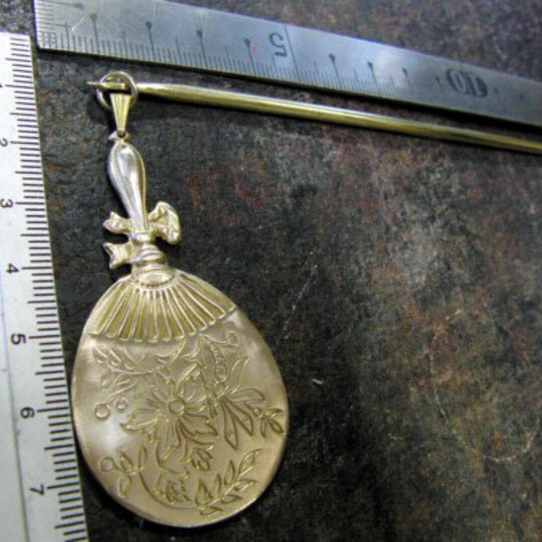 真鍮ブラス製 和風団扇デザイン簪/かんざし 着物や浴衣の髪飾りや帯飾り根付・ペンダントトップに