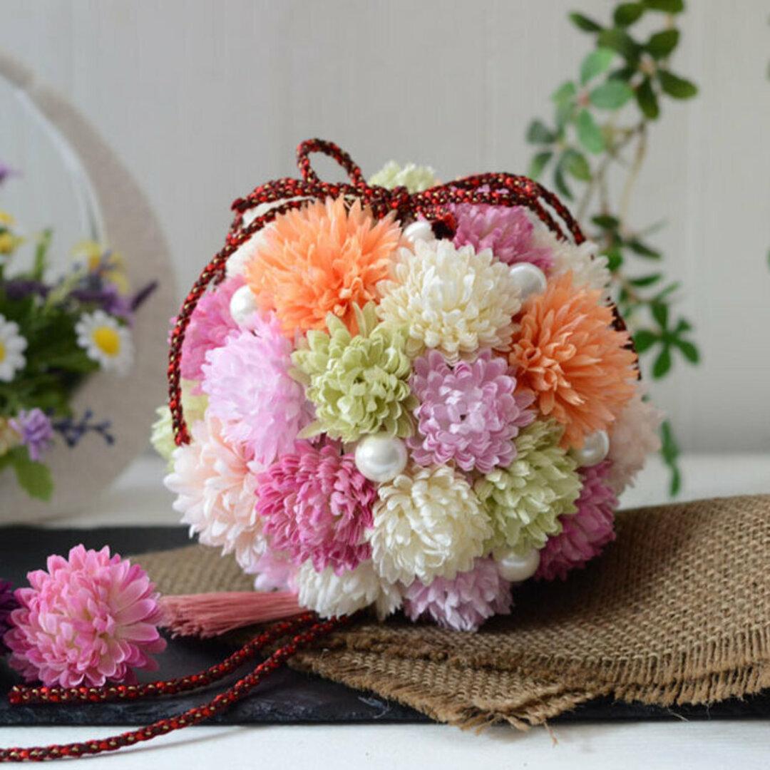 手作りキット・オーダー可「ピンポンマムのボールブーケ」 和風ブーケ 七五三ブーケ 和装結婚式ブーケ ブライダルブーケ