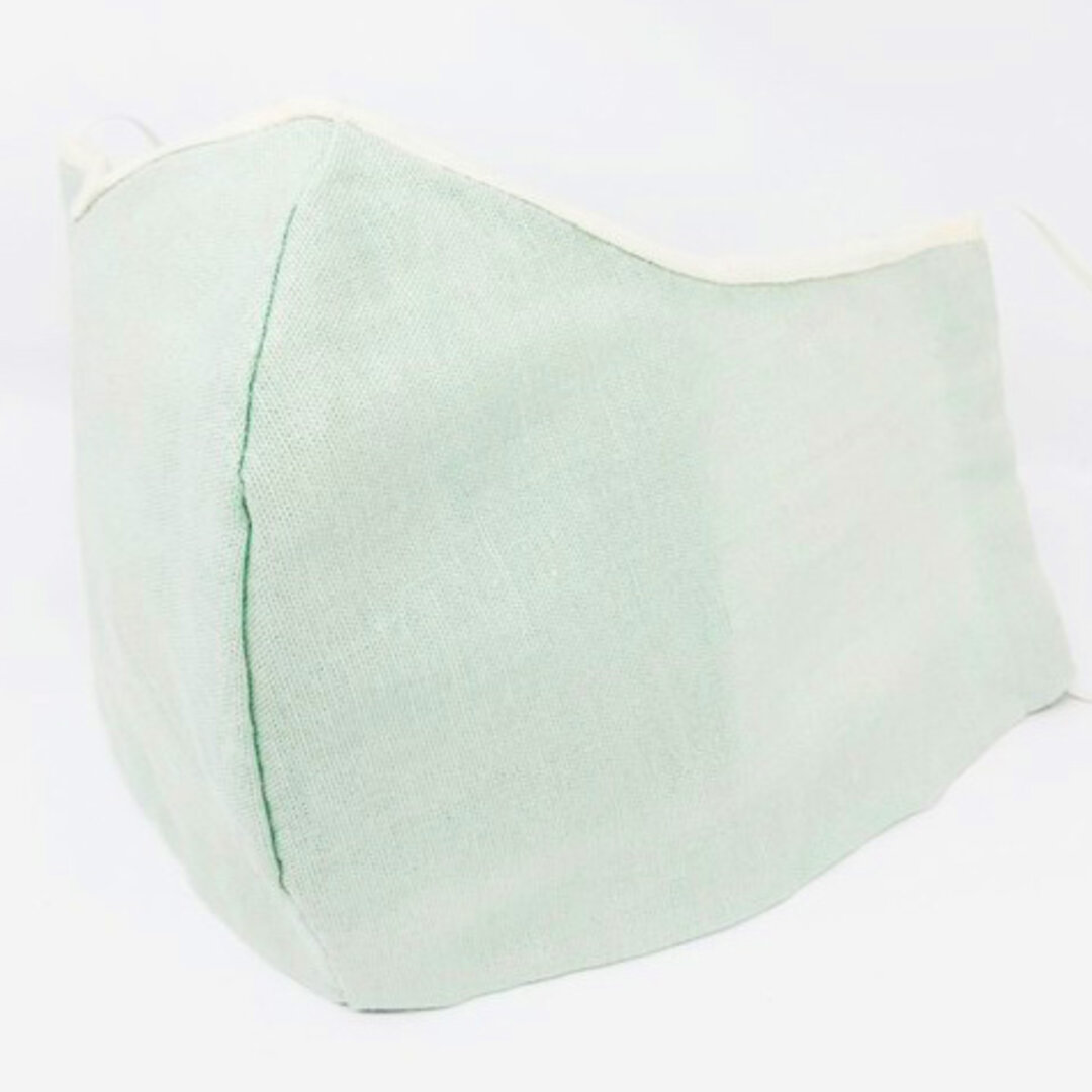 【SALE】ポケット付き 立体コットン 夏マスク 新緑の淡いミントグリーンと生成り レイヤード重ねシャーベットカラー