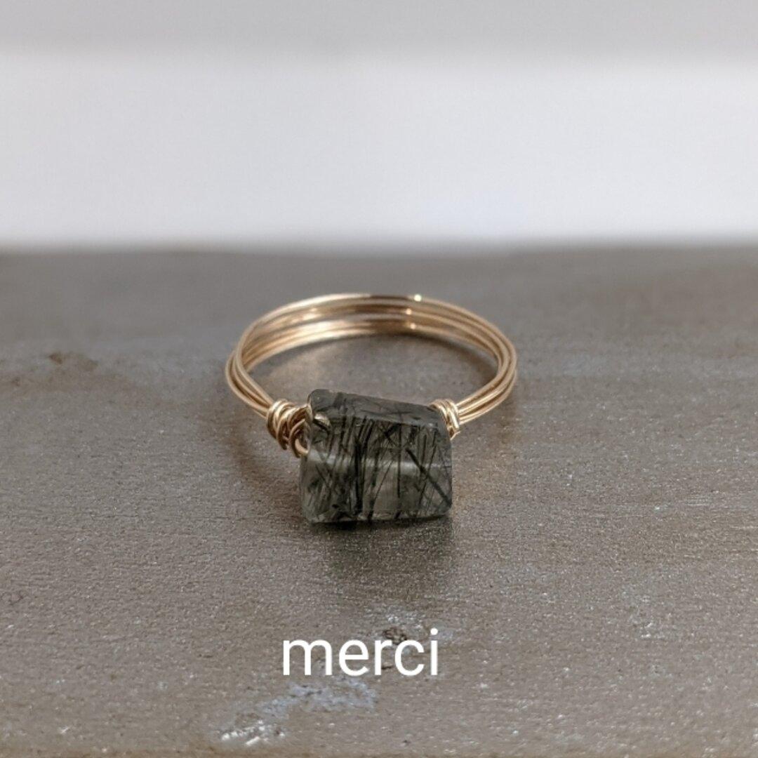 グリーンルチルクォーツのリング★天然石、14kgf、