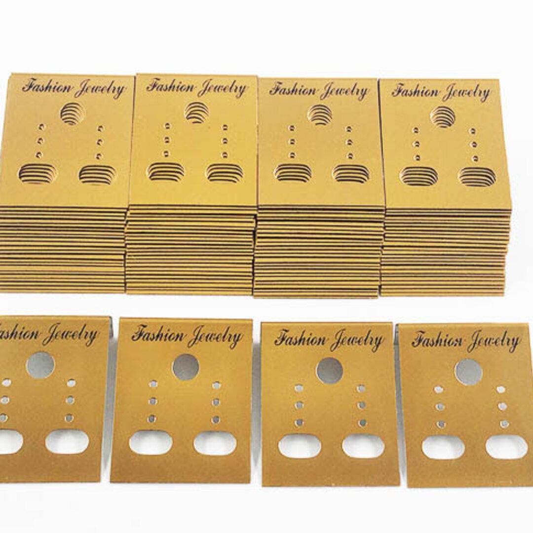送料無料 ピアス 台紙 イヤリング 台紙 100枚 ゴールド 金 アクセサリー 飾り ハンドメイド 素材  (AP0472)